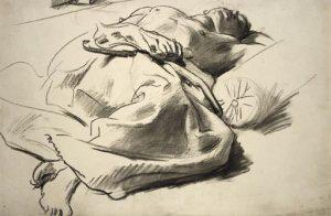 Recumbent draped figure