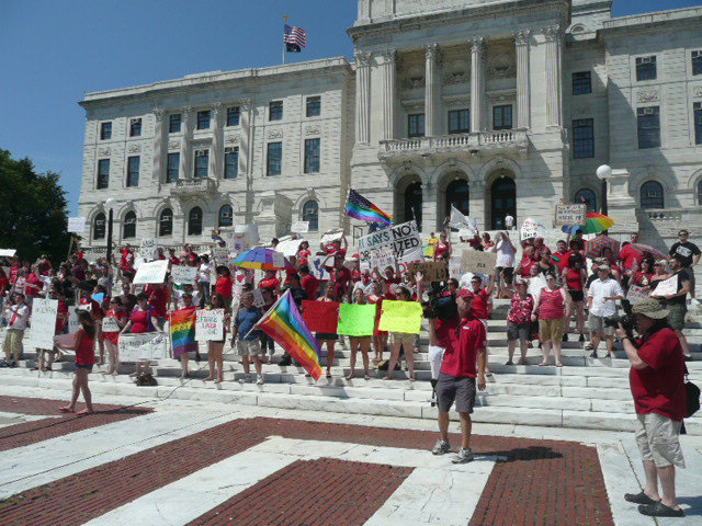Pro Equality Protesters at NOM's July 18th Cavalcade of Bigotry