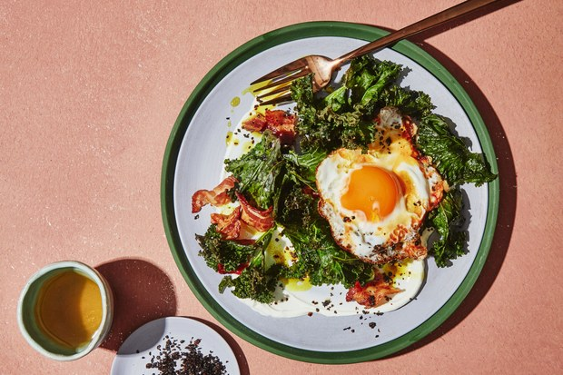 turmeric-eggs-with-kale-yogurt-and-bacon-recipe-ba-011718